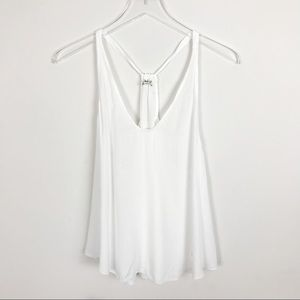 Free People White Racer Back Scoop Neck Tank Top